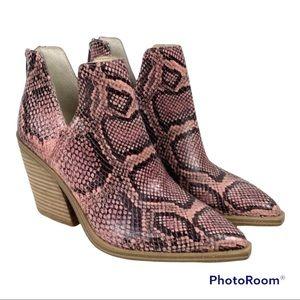 Vince Camuto Gigietta Leather Snake Print Heeled Boots 5.5